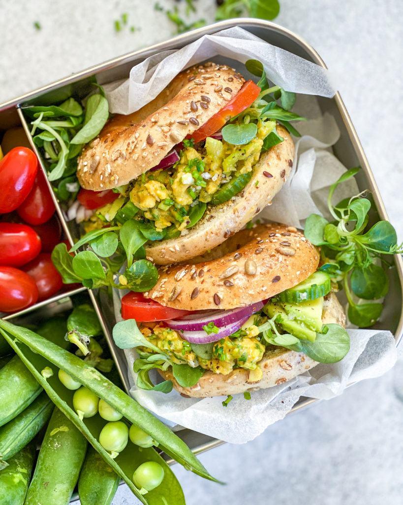 vegansk æggesalat madpakke