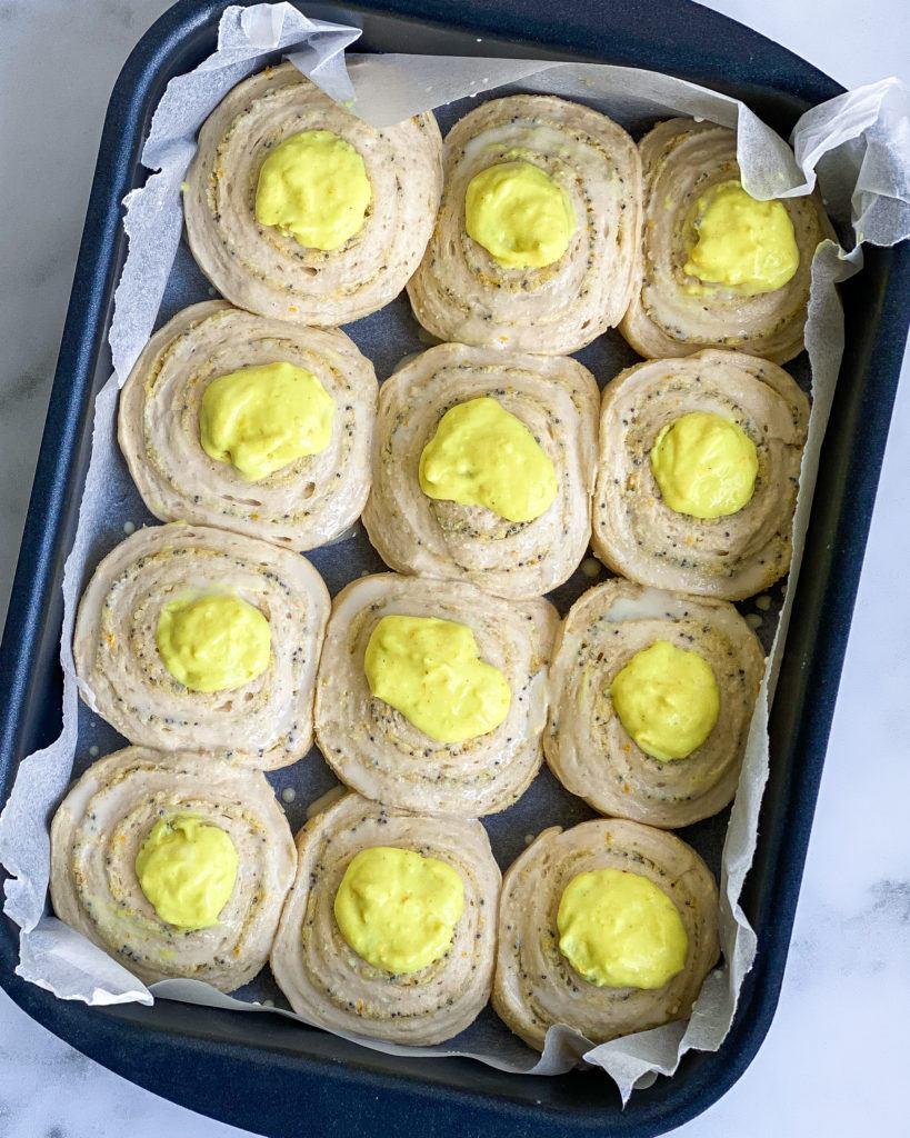 veganske snegle med marcipanremonce og lemoncurd