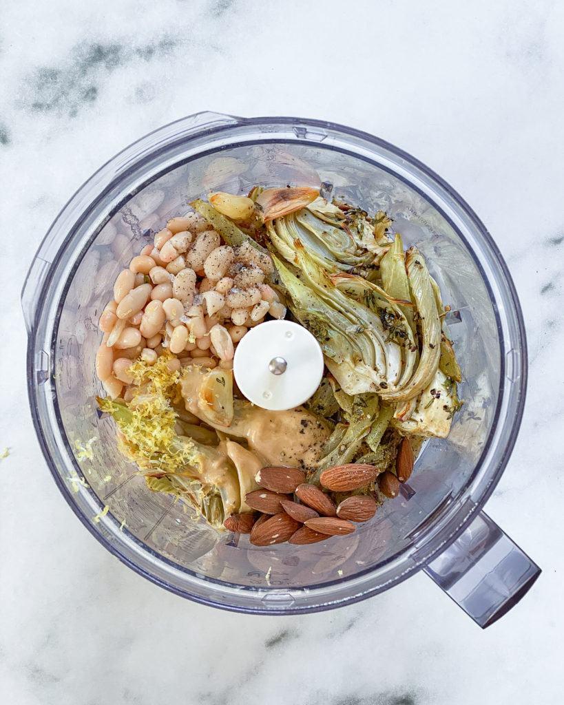 ingredienser til hummus med bagt fennikel