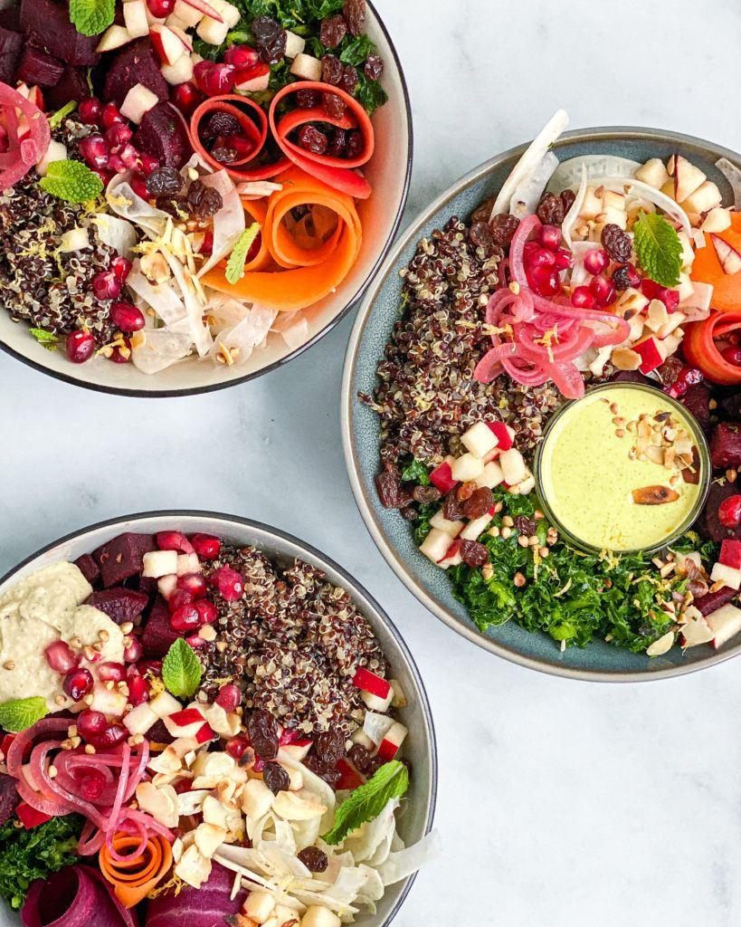 bowls med gurkemejedressing og butterbean hummus