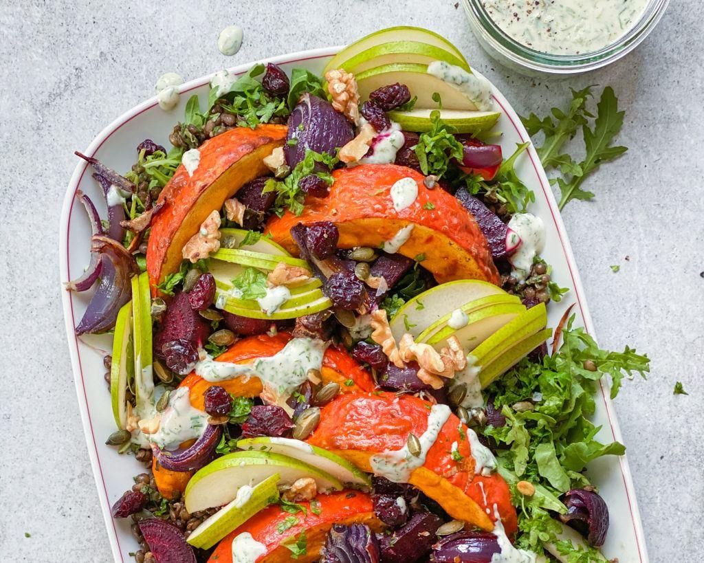 Linsesalat med bagte grøntsager