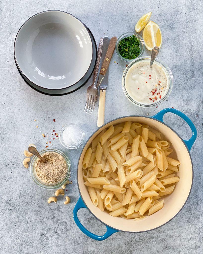 blomkålssauce med pasta