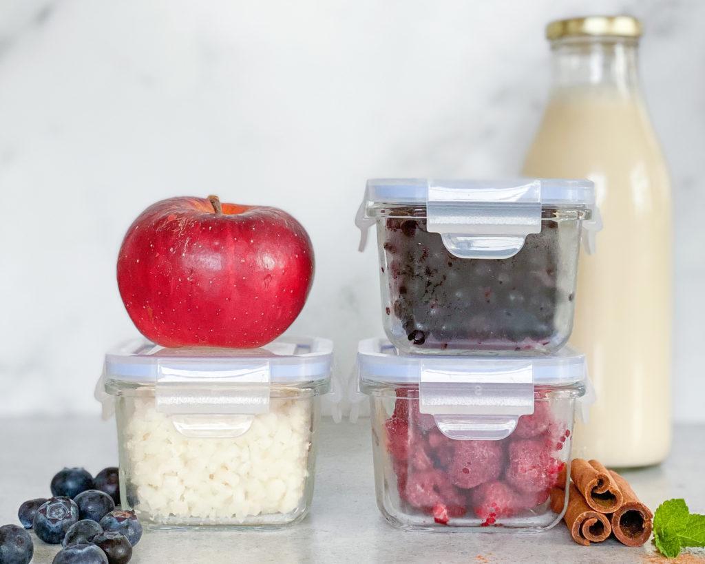 overnight oats bær og grøntsager