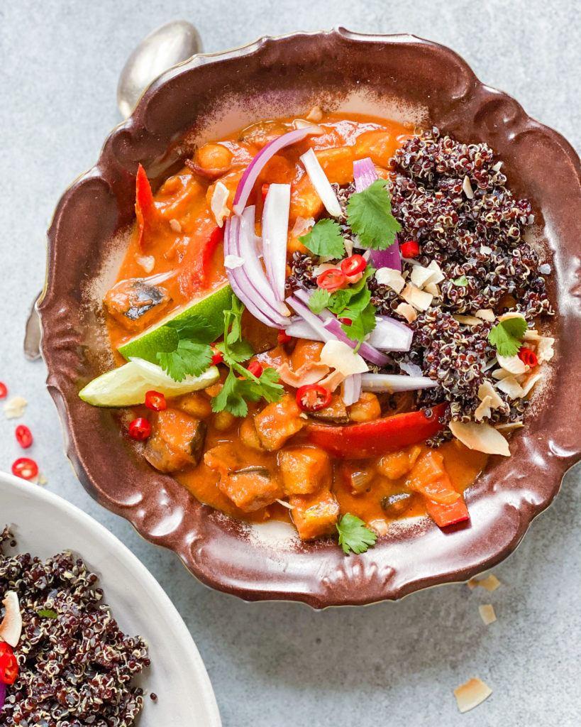indisk gryderet med kikærter og grøntsager