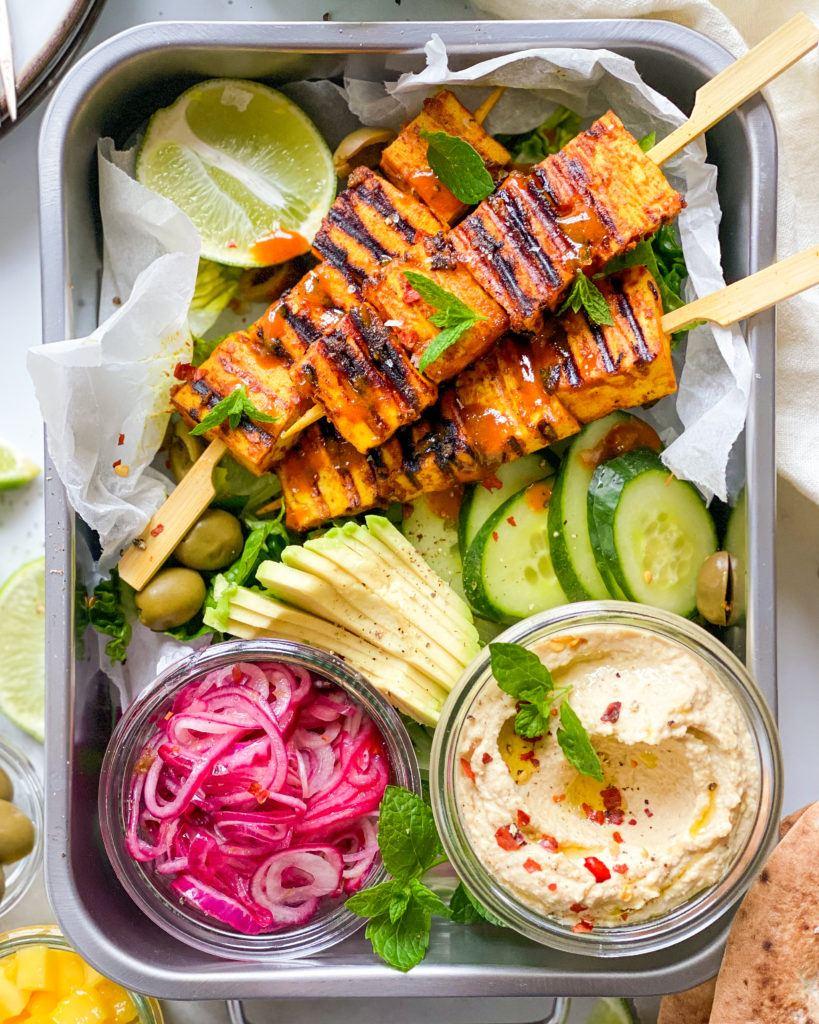 tofu grillspyd med karrymarinade