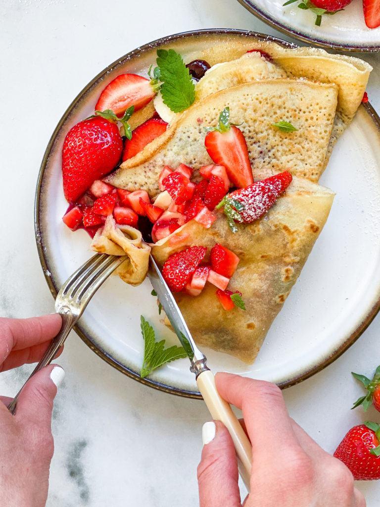 veganske pandekager med bær