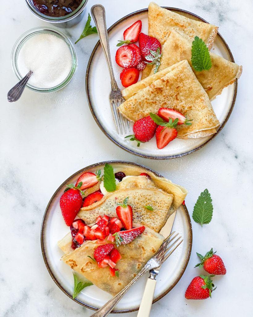 veganske pandekager med topping
