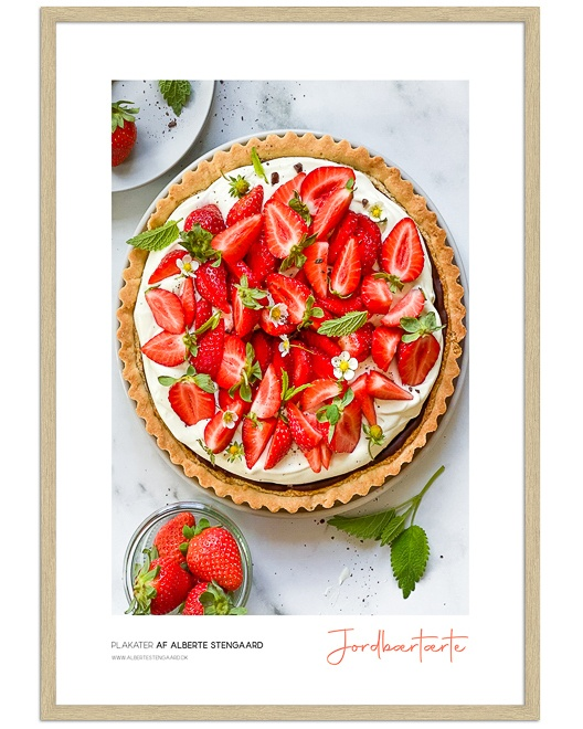 jordbærtærte mad plakat