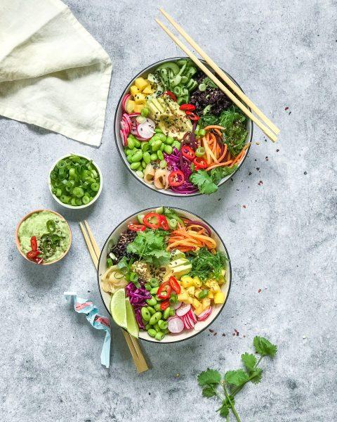veganske sushibowls med wasabi mayo